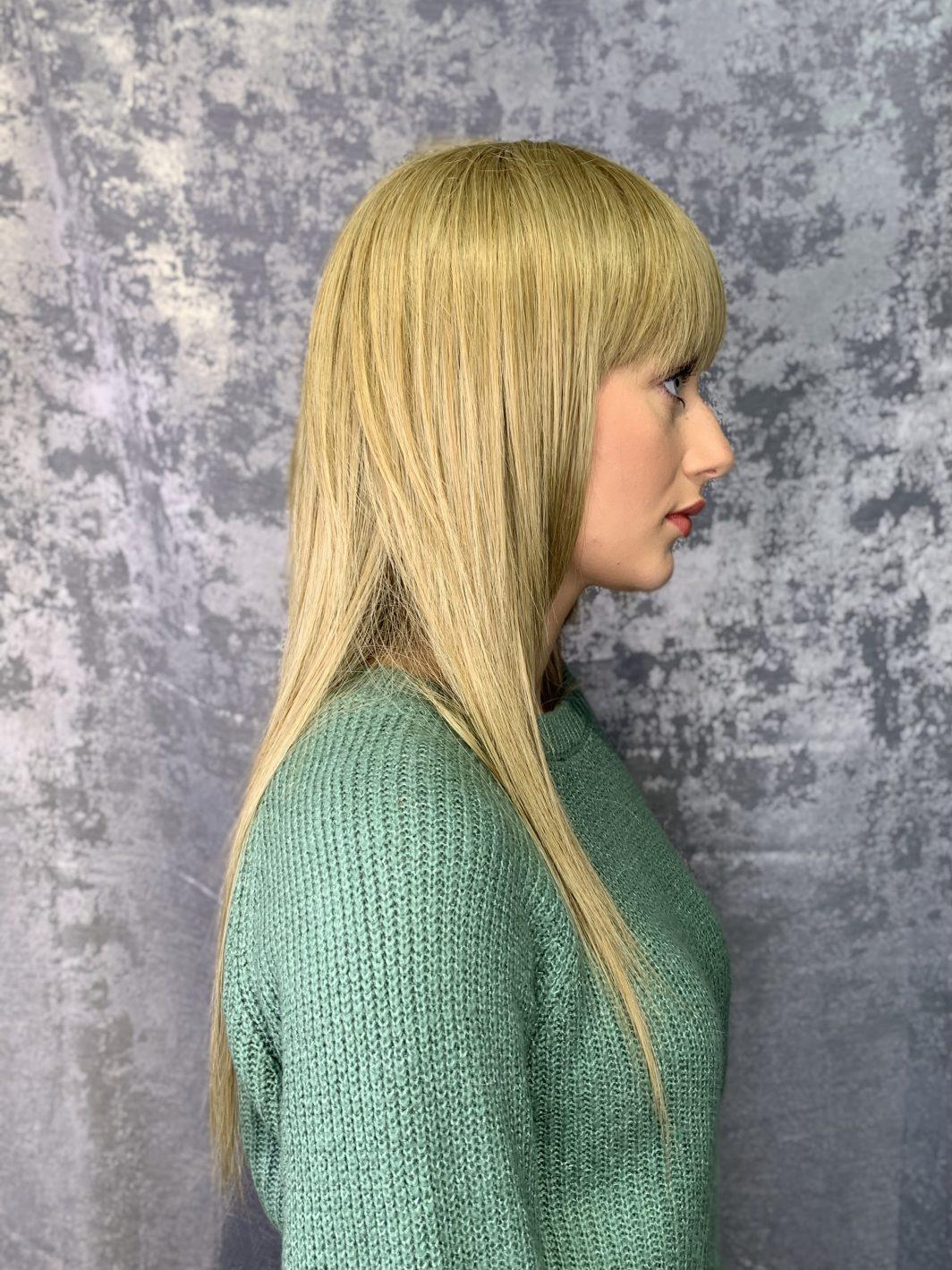 Парик лесенка на длинные волосы (вид сбоку)