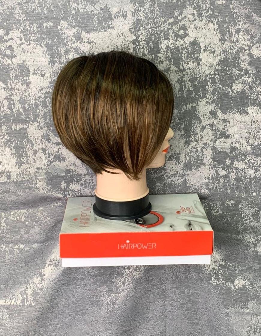 Косой боб, натуральный парик (вид сбоку)